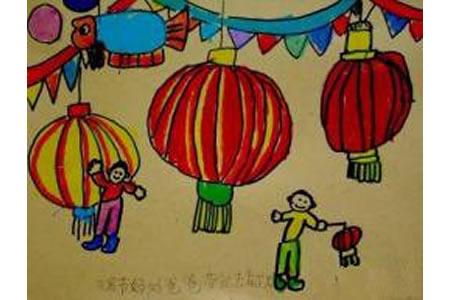 幼儿园元宵节儿童画图片
