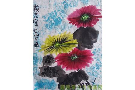 重阳节旳儿童画-盛开的菊花