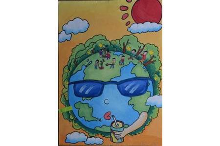植树节教师范画作品之我们爱地球