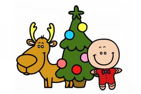 圣诞节主题简笔画图片「彩色」