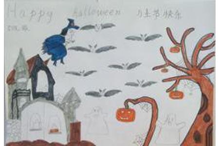 长在树上的南瓜,趣味万圣节比萨儿童画