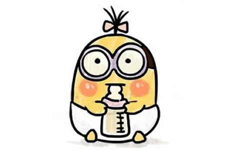 吃奶的小黄人简笔画