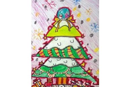 圣诞节儿童画 七彩的圣诞树