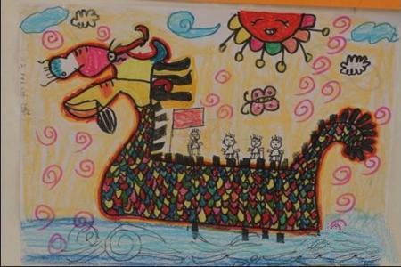 端午节赛龙舟儿童画-霸气的龙舟
