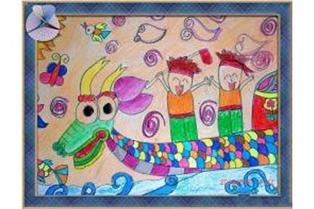 端午节赛龙舟儿童画-比赛胜利的欢乐