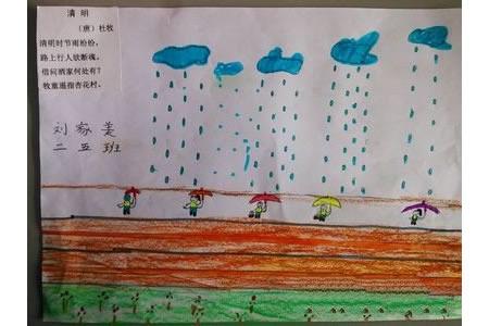 关于清明节的儿童画-忧愁清明雨