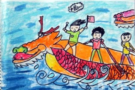赛龙舟端午节儿童画-我们胜利了