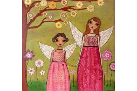 天使妈妈和小天使三八妇女节画画图片分享