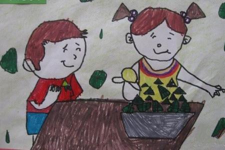 端午节吃粽子儿童画-快乐的包粽子