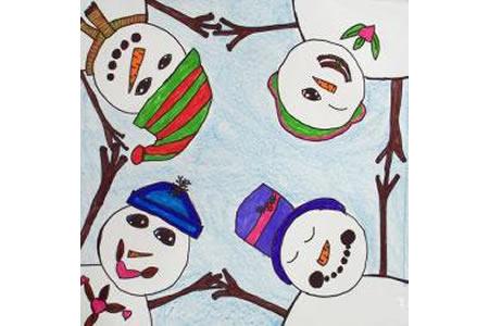 玩闹的雪人水彩画作品在线看