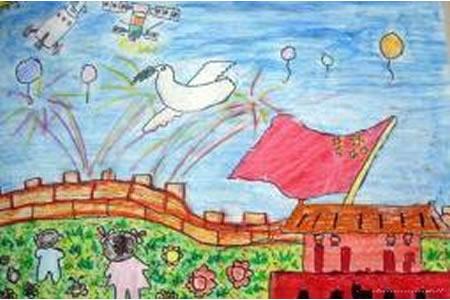 欢庆国庆节儿童画作品-和平腾飞的中国