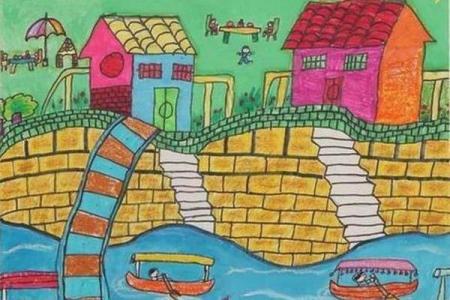 二年级端午节儿童图画作品:家乡的端午节