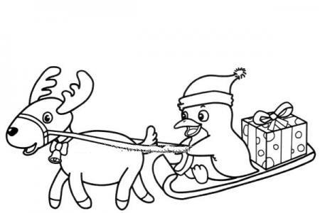 企鹅坐着雪橇送礼物