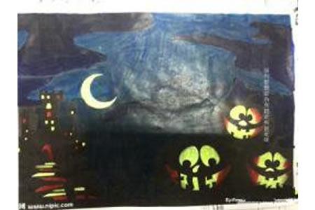 万圣节儿童画范画-神秘的万圣节之夜