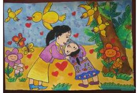 9岁小朋友妇女节画画图片之我和亲爱的妈妈