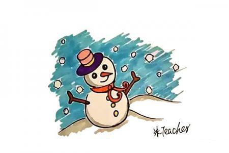 雪地里的雪人简笔画教程