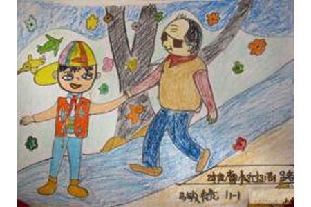 学雷锋儿童画图片-扶盲人过马路