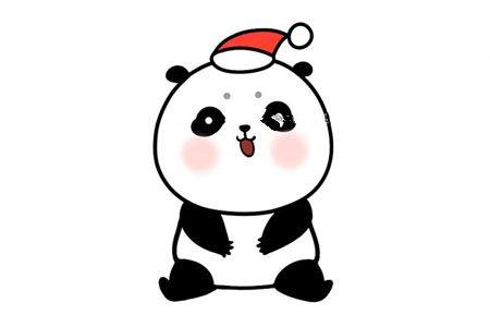 画可爱的圣诞节大熊猫