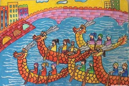 儿童画我们的春节-这天我们划龙舟