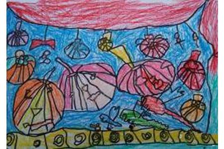 万圣节比赛儿童画,万圣节南瓜儿童画欣赏