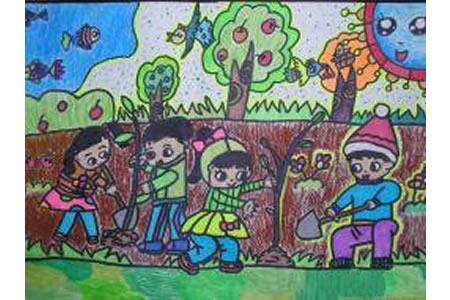 植树造林绿化祖国关于植树节的图画