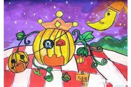 万圣节南瓜儿童画-戴小帽的南瓜