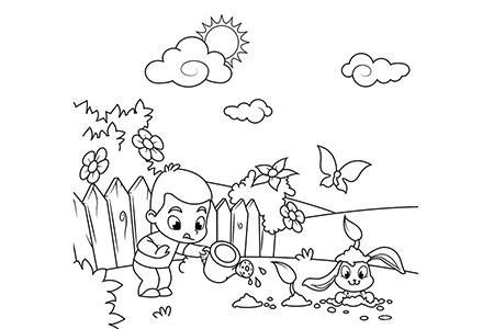 小男孩带着小兔子种花