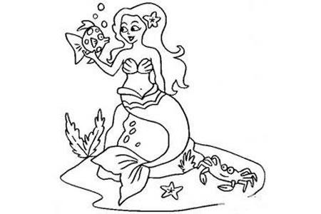 动漫人物简笔画 美人鱼简笔画画法