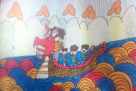 激烈的龙舟竞渡关于端午节的绘画图片赏析