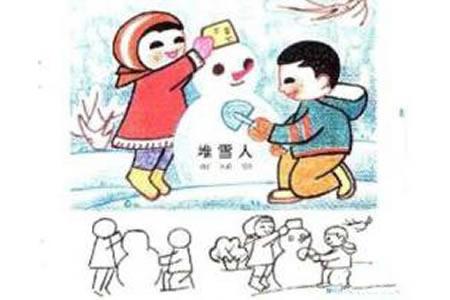 小孩堆雪人儿童图画作品大全