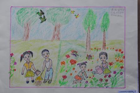 五一劳动节的儿童画-全家一起劳动