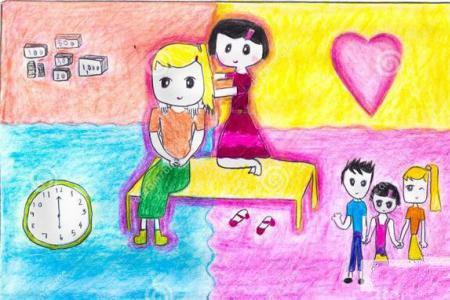 给妈妈捶捶背五年级母亲节的画作品分享