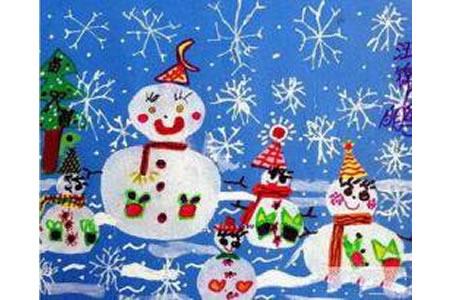 圣诞节儿童画 圣诞雪人