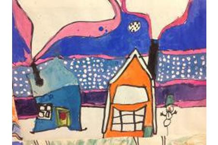 冬天儿童风景画作品分享-雪后放晴