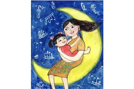 月亮上的母女俩三八妇女节创意画欣赏