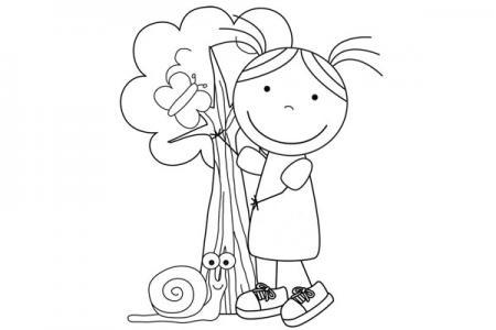 2张在植树的小女孩简笔画