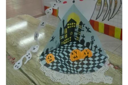万圣节比赛儿童画作品分享-南瓜舞会