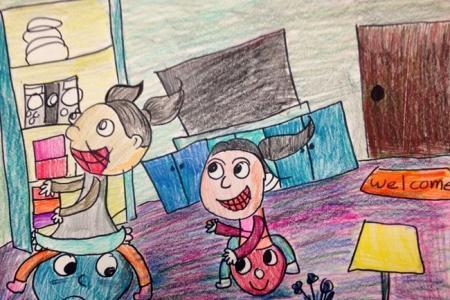 和姐姐一起玩游戏庆祝六一主题画图片赏析