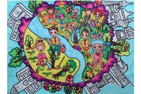 真心呵护我们的地球关于植树节的图画
