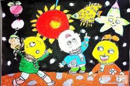 2017年元宵节的儿童画作品欣赏