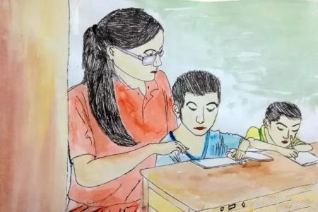 教师节儿童画 五年级学生作品 耐心的老师