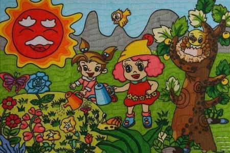浇花的小姑娘8岁小朋友劳动节获奖的画分享