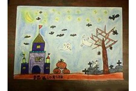 万圣节主题儿童画-万圣节诡异的古堡