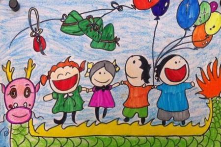 六年级端午节绘画作品之开心快乐的端午节