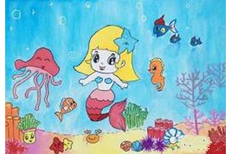 卡通海底世界儿童画:美人鱼
