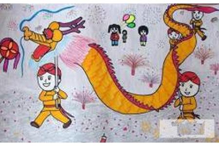 舞龙庆国庆,有关于国庆节的儿童画