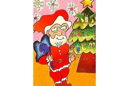 可爱圣诞老人和圣诞树