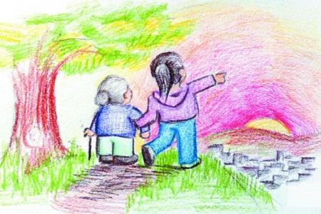 九九重阳节儿童画图片-家乡的重阳节