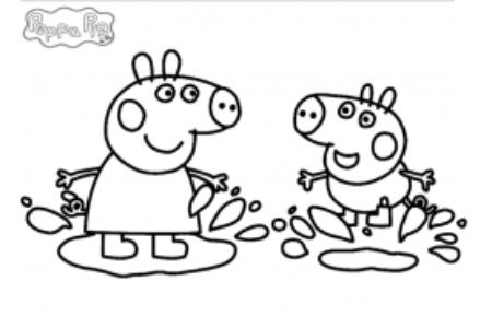 动漫人物简笔画 粉红猪小妹和弟弟简笔画图片