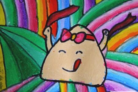 进击的小粽子端午节油画棒画作品赏析